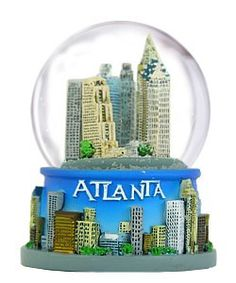 #homefurniture This is a 65mm Glass #Snow Globe featuring #Atlanta in color. This globe measures 3.5 inches in height from base to top and 8 inches around the gla...