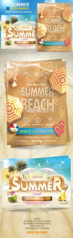 Summer Flyer Bundle Template #design Download: http://graphicriver.net/item/summer-flyer-bundle/12110781?ref=ksioks