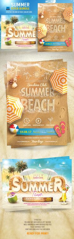 Summer Flyer Bundle Template #design Download: http://graphicriver.net/item/summer-flyer-bundle/12110781?ref=ksioks