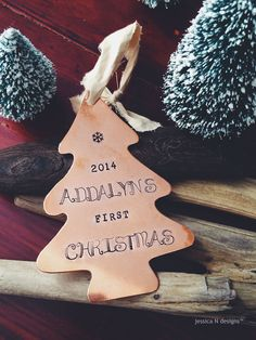 Personalized Baby's First Christmas Tree Ornament in Aluminum or Copper