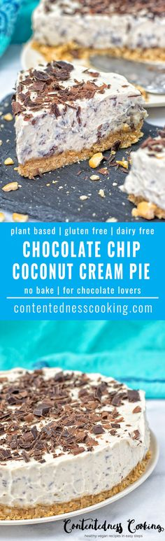 This Chocolate Chip Coconut Cream Pie is not only vegan, gluten free, and a no bake pie. It's also incredibly addictive and made from only 6 ingredients! #vegan #glutenfree #nobake #dairyfree #cake #plantbased #pie