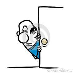 Character man frightened door cartoon illustration