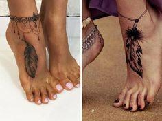 un tatouage de cheville avec une plume en 3D #tattoo #plume #tatouagecheville #monvanityideal