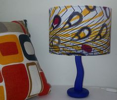 A touch of Spring in your homes ... Blue Yellow & Red Ankara / African Wax Print Fabric Lampshade - Peacock Feathers tribal pattern by Ankara Lampshades, £35.00