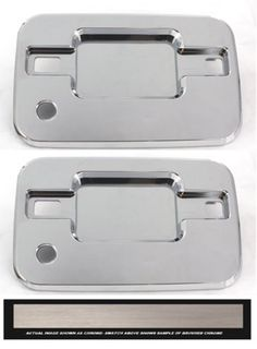 All Sales Brush Chrome LH & RH W/LockK Buckets Only - It's time to lose the unsightly plastic door handle that come factory with your truck, and replace it with our solid billet assembly. These heavy duty brutes are not the imitation stick on overlays, these handles add security and style to your vehicle. Crafted here in the USA. Available finish options: polished chrome or brushed chrome.Fits: Ford 04-13 F150. Automotive. Weight: 3.00