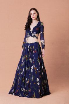 Navy blue printed gold embellished back knot blouse and lehenga with embellished georgette dupatta Material: Georgette, Shantoon Dry Clean Only Dress Indian Style, Indian Dresses, Indian Outfits, Lehnga Dress, Lehenga Blouse, Jacket Lehenga, Lehenga Choli, Indian Designer Outfits, Designer Dresses