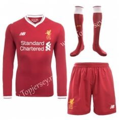5bef747e381 2017 18 Liverpool Home Red LS Thailand Soccer Jersey uniform with socks