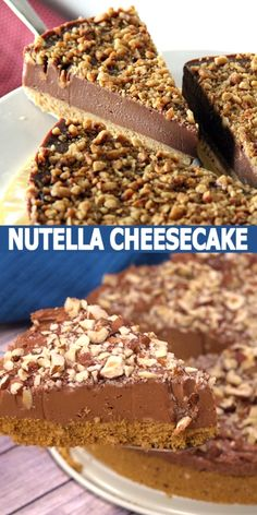 Sweet Desserts, Easy Desserts, Sweet Recipes, Delicious Desserts, Dessert Recipes, Best Nutella Cheesecake Recipe, Easy No Bake Cheesecake, Easy Nutella Recipes, Desserts Nutella
