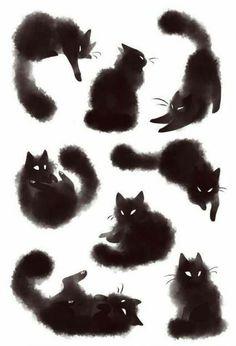 Risultati immagini per furry black cat tattoo Portfolio Illustration, Black Cat Illustration, Halloween Illustration, Watercolor Illustration, Illustration Animals, Illustration Artists, Tattoo Gato, Cute Cat Tattoo, Bastet Tattoo