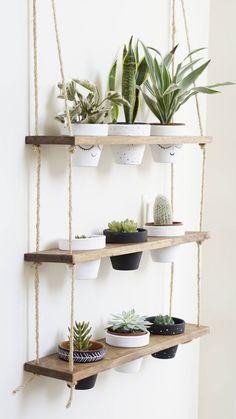 TriBeCa Trio Pot Shelf / Hanging Shelves / Planter Shelves / Floating Shelves / Three Tiered Shelf
