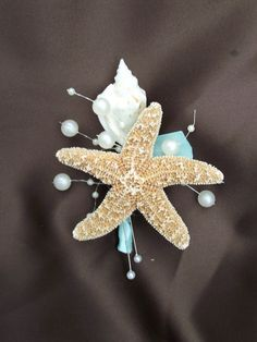 Aqua blue sea shell boutonniere tiffany wedding by UptownGirlzz