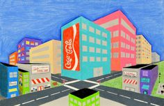 Lessons from the Art Room: Art I: Two Point Perspective Cityscapes 2 Point Perspective Drawing, Perspective Art, High School Art, Middle School Art, Visual Art Lessons, 7th Grade Art, 1080p Wallpaper, Art Lesson Plans, Summer Art