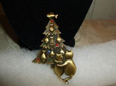 VTG. JJ JONETTE RHINESTONE & GOLD TONE KITTY CAT'S & FISH CHRISTMAS TREE…