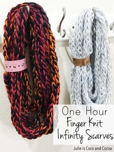 Finger Knit Infinity Scarves A quick and easy knit project that anyone can make! Finger knit infinity scarves that can be finished in an hour.A quick and easy knit project that anyone can make! Finger knit infinity scarves that can be finished in an hour. Finger Crochet, Hand Crochet, Knit Crochet, Crochet Pattern, Free Pattern, Crochet Granny, Arm Knitting, Knitting Patterns, Finger Knitting Scarf