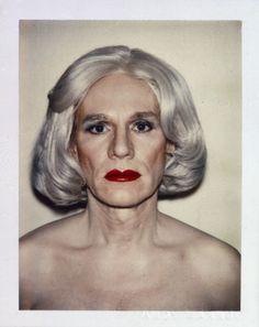 Self-portrait (polaroid) of Andy Warhol.