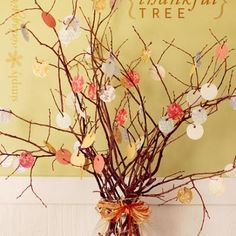 The Thankful Tree...write what your thankful for on little paper leaves, punch holes in them, and hang on branches for a fun tradition this year!