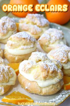 If you're looking for a delicious pastry that's not too difficult to make but impressive to serve, these Orange Cream Eclairs are just the ticket. A word to the wise, however, you may want to make a double batch because they'll be gobbled up quickly. #orange #orangedessert #orangeeclairs #orangecurd #eclairs #chouxpaste #kudoskitchenrecipes Cute Desserts, Delicious Desserts, Yummy Food, Breakfast Pastries, Sweet Pastries, Easy Pastry Recipes, Dessert Recipes, Pastry Dough Recipe, Orange Dessert