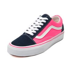 Shop for Vans Old Skool Skate Shoe in Navy Neon Pink at Journeys Shoes. Shop today for the hottest brands in mens shoes and womens shoes at Journeys.com.Old Skool lives on! A skate classic from Vans, the Old Skool represents timeless skate style with durability that keeps on giving. Features a synthetic upper, signature side stripe, and padded tongue and collar for comfort and protection. Available only online at Journeys.com and SHIbyJourneys.com!