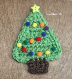 Christmas Tree Applique free crochet pattern - Free Crochet Christmas Applique patterns - The Lavender Chair Crochet Tree, Christmas Applique, Christmas Tree Pattern, Christmas Crochet Patterns, Crochet Christmas Ornaments, Holiday Crochet, Crochet Crafts, Yarn Crafts, Crochet Projects