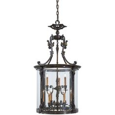 Metropolitan 9 Light 27 Wide Large Single Foyer Pendant with Glass Shade from the Metropolitan Family Collection, French Oxide Outdoor Hanging Lanterns, Outdoor Chandelier, Outdoor Lighting, Foyer Pendant Lighting, Light Pendant, Metropolitan Lighting, Candelabra Bulbs, Cool Lighting, Glass Shades