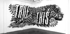 "This mural by Gemma O'Brien was commissioned by Volcom Stone, and was included in their film ""True to This"". The work perfectly captures the essence of the brand, having distinct movement and vibes of rebelliousness. To me, this use of typography exhibits the perfect execution of combing art and type, while still conveying meaning and sticking to a brief."