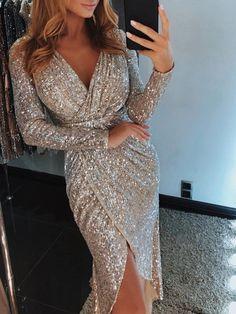 34505306d103 Long Sleeve Sequins V-Neck Women's Bodycon Dress