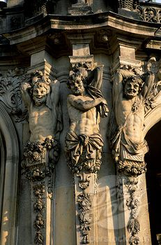 These Baroque architectural statues are located on the exterior of the Zwinger palace in Dresden Germany. They exemplify the Baroque period. They have some aspects of Roman architecture through the exploration of humanism.