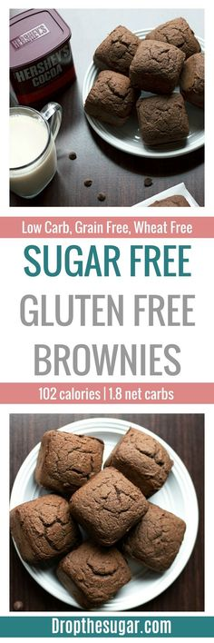 Sugar Free Gluten Free Brownies a delicious and easy low carb brownies recipe that is also gluten free! Add this to your low carb dessert list when you're itching for some chocolate brownies! Diabetic Desserts, Sugar Free Desserts, Sugar Free Recipes, Diabetic Recipes, Low Carb Recipes, Dessert Recipes, Healthy Recipes, Low Carb Chocolate, Chocolate Brownies