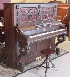This is the same style piano I grew up with! I love this piano! Piano Shop, Piano For Sale, Steinway Upright Piano, Refinish Piano, Piano Restoration, Pump Organ, Piano Pictures, Painted Pianos, Musicals