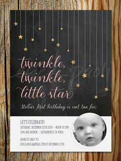Twinkle, Twinkle, Little Star Child's Birthday Party Invitation Printable – First Birthday Invite with Photo