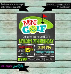 Mini Golf Golfing Birthday Party Invitations by InkPaperParties