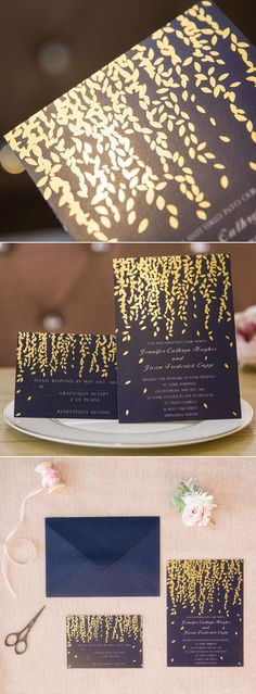 leaves themed navy blue and gold foil wedding invitations /elegantwinvites/ Diy Wedding Invitations Templates, Creative Wedding Invitations, Gold Invitations, Wedding Invitation Design, Wedding Stationery, Invitation Wording, Picnic Invitations, Debut Invitation, Invitation Ideas
