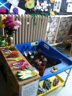 Garden centre role play Great idea for spring! Dramatic Play Area, Dramatic Play Centers, Eyfs Classroom, Outdoor Classroom, Nursery Activities, Preschool Activities, Minibeasts Eyfs, Early Years Classroom, Small World Play