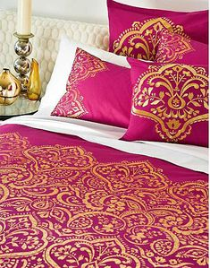 HENNA Hot Pink Gold Jacquard Quilt Cover Set - SINGLE DOUBLE KING Eurocases #Accessorize
