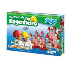 5306.5 - Brincando de Engenheiro 200 peças | Com 200 peças em madeira. | Faixa etária: + 3 anos | Medidas: 40,5 x 6 x 30 cm | Educativos | Xalingo Brinquedos | Crianças