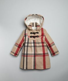 Burberry BABY / GIRLS signature check wool blend hooded toggle coat | BLUEFLY up to 70% off designer brands