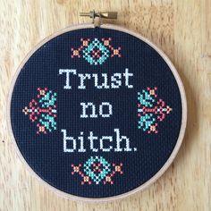 PATTERN MATURE Subversive Cross Stitch Trust No B-tch Pop Culture Funny PDF…