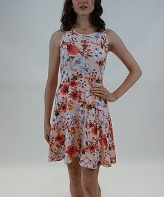 Another great find on #zulily! Peach Floral Fit & Flare Dress #zulilyfinds