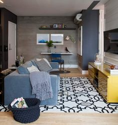 80 Smart Solution Small Apartment Living Room Decor Ideas And Remodel Small Apartment Living, Small Living Rooms, Small Apartments, Rugs In Living Room, Living Room Designs, Living Room Decor Inspiration, Decoration, Home Decor, Decor Ideas