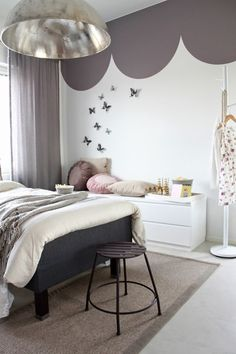 Lovely grey girls room with butterflys. Maybe purple or pink butterflies