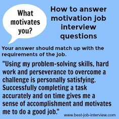 The top interview questions. Motivation interview questions and answers. How would your coworkers describe you? Good sample interview answers to common interview questions. Job Interview Answers, Job Interview Preparation, Interview Skills, Interview Questions And Answers, Job Interview Tips, Job Interviews, Interview Techniques, Business Interview Questions, Management Interview Questions