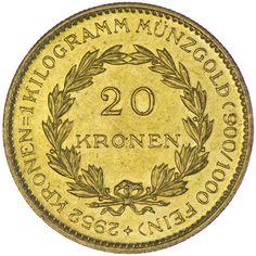 1. Republik-Bundesstaat 1918 - 1938 20 Kronen 1923 Gold sogenannte Zollkrone, nur 6.988 Exemplare geprägt!!! = SELTEN=