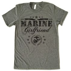 "The listing is for one short-sleeve UNISEX crewneck t-shirt with ""Marine Girlfriend"" design. Please refer to the size chart below (laying flat measurements in inches) if you want to measure it against Marine Girlfriend Quotes, Military Girlfriend, Military Couples, Marine Quotes, Military Mom, Military Homecoming Signs, My Marine, Marine Corps, Baseball Shirts"