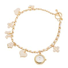 Xtreme Fortune NYC Women's Gold Case / Flower & Heart Chain Wrap Watch