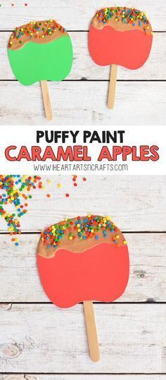 Puffy Paint Caramel Apple Craft For Kids - I Heart Arts n Crafts