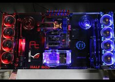 PC Mod Thermaltake Core P 5 Blue and Red watercooled thermaltake riing LED fans - blau rot wasserkühlung