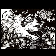Doodle from 2011  #doodle #illustration #wonderland #creatures #butterfly #sky #nature #night #flowers #moon #clouds #stars #hearts #love #magic #art #bubbles #latergram #instaart #alexnandy