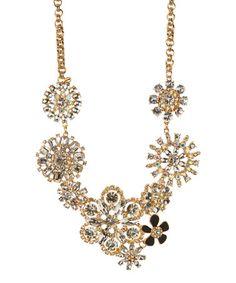 Goldtone Embellished Floral Statement Necklace #zulily #zulilyfinds