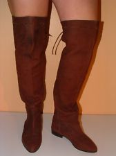 Vintage 80's BROWN Leather OTK THIGH HIGH Over The Knee TALL INDIAN Boot FLATS 6