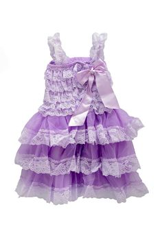 Vintage Country Layered Lace Dress - Lavender